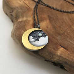 Gold Crescent & Cloud Pendant. 24k gold keum boo & silver. Handmade necklace.