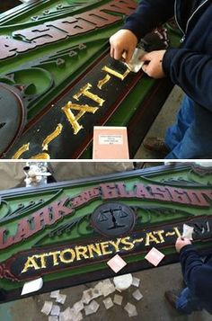 Michael Clark gilding a sign with 23K Wehrung & Billmeier gold leaf.