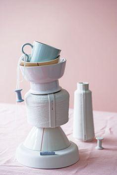 vtwonen #cup #pink #pastel #white #tablecloth #lightblue #wire #vase #porcelain #pottery
