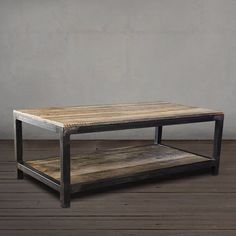 Reclaimed Wood and Metal Coffee Table Two Tier - Free Shipping - JW Atlas Wood Co.