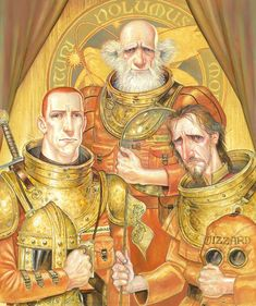 Paul Kidby/ The Voyagers: Capt. Carrot Ironfounderson, Leonard da Quirm and Rincewind the Wizard from the Last Hero by Terry Pratchett. Discworld Characters, Science Fiction, Character Art, Character Design, Terry Pratchett Discworld, Fantasy Artwork, Hero, Fan Art, Cartoon