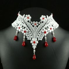 White Lace Choker Necklace with Red Rubies Gemstones Beads and Howlite Stones - Victorian Bridal Jewelry for Women - Fabric Bride Chocker Lace Necklace, Lace Jewelry, Ruby Jewelry, Textile Jewelry, Fabric Jewelry, Bridal Jewelry, Jewelry Crafts, Victorian Jewelry, Gothic Jewelry