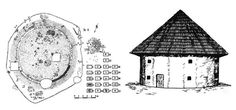 Ground plan and reconstruction drawing of a dacian house