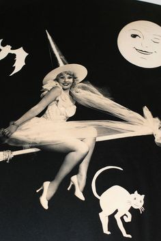 "June Knight as a ""good witch"" pin up Halloween Pin Up, Vintage Halloween Photos, Vintage Holiday, Halloween Themes, Happy Halloween, Vintage Photos, Halloween Decorations, Halloween Costumes, Halloween Table"