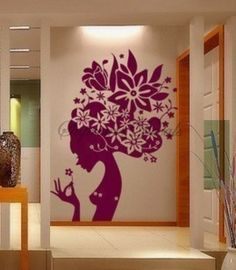 Flower Girl --35.5inch tall-- Wall Art Home Decors Murals Removable Vinyl Decals Paper Stickers