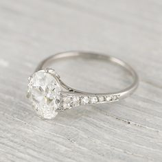 Vintage 1.83 Carat Cushion Cut Engagement Ring