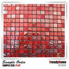 Sample-Glass mosaic tile Red Kitchen Backsplash wall sink bathroom spa