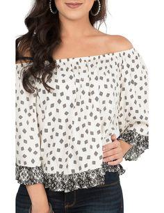 e9e45229e9682153cad4045bbad0d38d fashion shirts fashion top flying tomato women's ivory chiffon with lace & crochet 3 4 bell,Renee C Womens Clothing