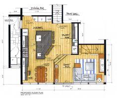 Colored kitchen floor plan