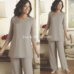 Long Sleeve Mother Of The Bride Pant Suits 2015 Summer Spring Chiffon Custom Made Plus Size Mother of the Bride Dresses HH202