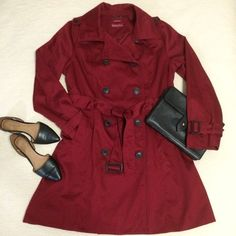 """Dark Red Long Belted Cotton Twill Trench Coat This cute trench is light enough for Spring weather, but warm enough for Winter weather. It was only worn twice. It doesn't have the tag anymore, but it's an XL. It's approximately 36"""" long, 24"""" across the bust from armpit to armpit, and 16"""" across the shoulders from seam to seam. It has two front pockets and a cute belt. Let me know if you have any questions :) Merona Jackets & Coats Trench Coats"""