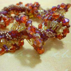 Catching Fire - Hunger Games inspired ruffled bracelet.