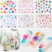 Nail Art Transfer Stickers 50 Sheets Flower Decals Manicure Decoration Tips Feather Nail Art, Bow Nail Art, Nail Art Diy, Diy Art, Chrome Nail Powder, Powder Nails, Flower Nail Designs, Flower Nail Art, Diy Flower