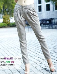 Women Korea Lattice Thin Slim Two Wear Casual As Picture Pants S/M/L@IM1120ap