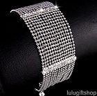 18K WHITE GOLD PLATED DIAMANTE SOFT PROM BANGLE BRACELET USE SWAROVSKI CRYSTALS - Designer Jewelry Galleria