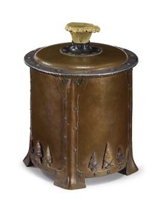 Joseph Heinrich HUMIDOR impressed COPPER AND SILVER hand-wrought copper, sterling silver, Native-American arrow heads and burl antler 8 1/4 in. (21 cm) high circa 1905