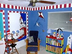 Dr Suess Room Love The Striped Border Maybe Playroom Idea
