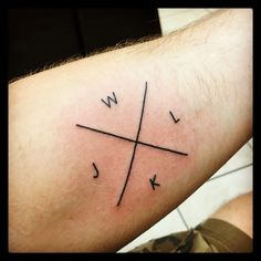 Crossed lines Letter tattoo