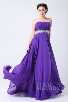 Fairy-tale Sheath-Column Sweetheart Sweep-Brush Train Chiffon Prom Dress with Sashes and Crystals COZT1402B