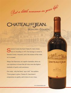 Chateau St. Jean Wine Advertising, Sonoma Wine Country, Sonoma County, Wines, Vineyard, California, Bottle, Vine Yard, Flask