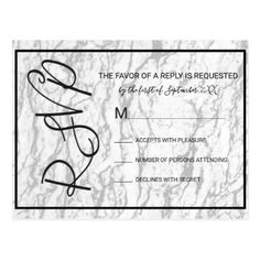 White Marble Black Pinstripe RSVPs Postcard - monogram gifts unique design style monogrammed diy cyo customize