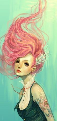 red hair girl draw - Pesquisa Google