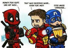 Deadpool asks Iron Man and Captain America how they liked his movie - Visit to grab an amazing super hero shirt now on sale! - Visit to grab an amazing super hero shirt now on sale! Marvel Dc Comics, Marvel Avengers, Marvel Funny, Marvel Memes, Funny Avengers, Baby Avengers, Dead Pool, Batman Y Superman, Spiderman