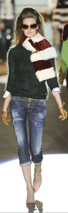 Dsquared2 Fall 2012 - cropped destroyed denim & heels !