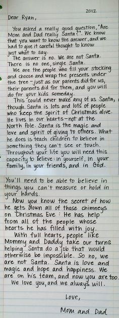 Letter explaining the meaning of Santa,,,
