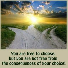 You are free to choose, but you are not free from the consequences of your choice!   http://quotes-lover.com