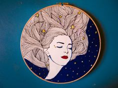 """Noche llena de estrellas bordado ilustración - 9"""" aro de bordado art - aro colgante de pared - soñando con hilo dibujo arte - moderno bordado"""