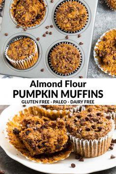 Paleo Pumpkin Muffins, Almond Flour Muffins, Baking With Almond Flour, Pumpkin Chocolate Chip Muffins, Almond Flour Recipes, Healthy Muffins, Chocolate Chips, Cinnamon Muffins, Almond Flour Desserts