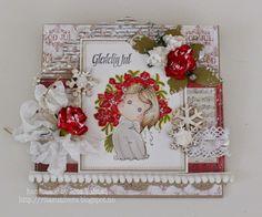 Red christmas card with Tilda