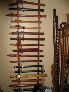 rack 2 of flutes Native Flute, Native American Flute, Garden Tool Storage, Garden Tools, Flute Stand, Instrument Craft, Wooden Flute, Flutes, Nativity