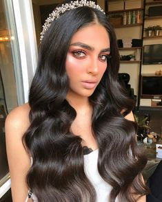 Formal Hairstyles For Long Hair, Curls For Long Hair, Bride Hairstyles, Down Hairstyles, Long Hair Wedding Styles, Wedding Hair Down, Wedding Hair And Makeup, Hair Makeup, Prom Makeup For Brown Eyes