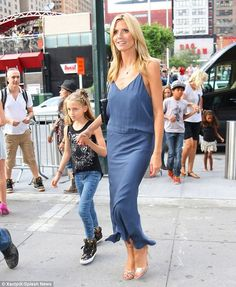 Heidi Klum wearing Mason by Michelle Mason Double Strap Bias Dress Gianvito Rossi Metallic leather sandals | New York City July 10 2014