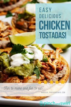 Chicken Tostadas are a Mexican food favorite! Healthy, festive and delicious with shredded chicken, refried beans, cheese, guacamole! One of those perfect recipes for Cinco de Mayo or any party! #chickentostadas #mexicanfood #cincodemayo #partyfood #appetizers Mexican Food Recipes, Real Food Recipes, Great Recipes, Vegetarian Recipes, Ethnic Recipes, Easy Summer Meals, Healthy Summer Recipes, Chicken Tostadas, Refried Beans