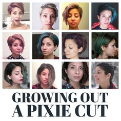 Month-by-month timeline of all the stages of growing out a pixie cut, plus cute styles and tips for growing out short hair!