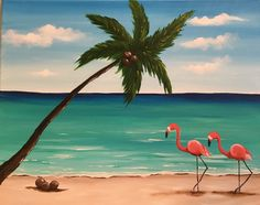 """Flamingo Island"", acrylic painting by Jonna Wormald for Cork & Canvas"