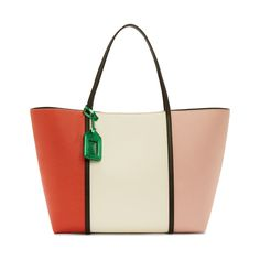 Dolce And Gabbana White Colorblocked Leather Tote Bag White Leather Handbags, Green Leather, Leather Purses, Leather Bags, Cute Handbags, Purses And Handbags, Cute Purses, Clutch Bags, Tote Bags