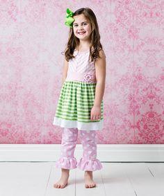 FlowerSak Pink & Green Stripe Top Set - Infant, Toddler & Girls by FlowerSak #zulily #zulilyfinds