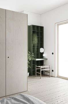 LIS design studio on Behance Small Space Design, Small Space Living, Small Rooms, Small Spaces, Work Spaces, Blue Storage Cabinets, Blue Home Offices, Design Hall, Small Studio Apartments