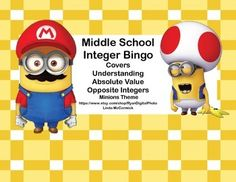 Looking for an engaging way to review? This Bingo Game with a fun Minions theme is just what you need.This game provides a great review on understanding, absolute value, and opposite integers.Contents40 Bingo Cards50 Calling Cards 10 Blank Bingo CardsSheet of 16 Blank Calling CardsYou can run the cards off on cardstock, cut to size, and laminate them for a permanent game solution. 6th Grade Math Games, Math 8, Fun Math, Integer Math, Math Class, Minion Theme, Minion Party, Teaching Aids, Teaching Math