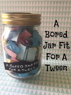 A bored jar fit for a tween! Help your tweens stay occupied over the Summer wit… A bored jar fit for a tween! Help your tweens stay occupied over the Summer with this brilliant bored jar filled with ideas to help them have lots of fun! Fun Crafts To Do, Crafts For Teens, Diary Ideas For Teens, Diy Crafts To Do When Your Bored, Fun Diy, Diy Projects When Bored, Teen Projects, Summer Crafts, Holiday Crafts
