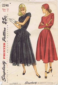 1940s Simplicity 2246 Vintage Sewing Pattern Junior Misses One-Piece Dress: The dart-fitted bodice joins the flared skirt at the natural waistline