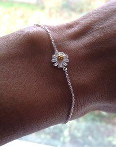Sterling Silver Daisy Bracelet Gift UK Shop by PABJewellery