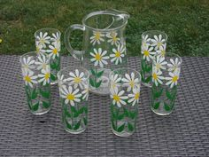 Vintage 7 Piece Daisy summer drink set by Bartlett-Collins Company with box