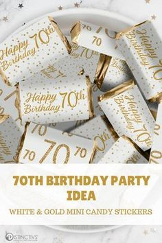 Looking for a birthday party favor idea? These White and Gold Birthday Party Stickers are made to perfectly wrap around Mini Chocolate Bars. 70th Birthday Party Ideas For Mom, 50th Birthday Favors, 70th Birthday Decorations, 75th Birthday Parties, Birthday Souvenir, 80th Birthday, Birthday Celebration, Party Favors For Adults, Chocolate Bars