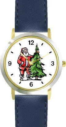 Santa Claus and Christmas Tree Christmas Theme - WATCHBUDDY® DELUXE TWO-TONE THEME WATCH - Arabic Numbers - Blue Leather Strap-Children's Size-Small ( Boy's Size & Girl's Size ) WatchBuddy. $49.95