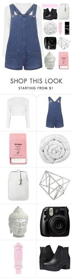 """""""SHE CAME HERE TO GETAWAY"""" by constellation-s ❤ liked on Polyvore featuring Topshop, Pier 1 Imports, Brinkhaus, Mossimo, Cyan Design, Fujifilm, Steve Madden and TokyoMilk"""